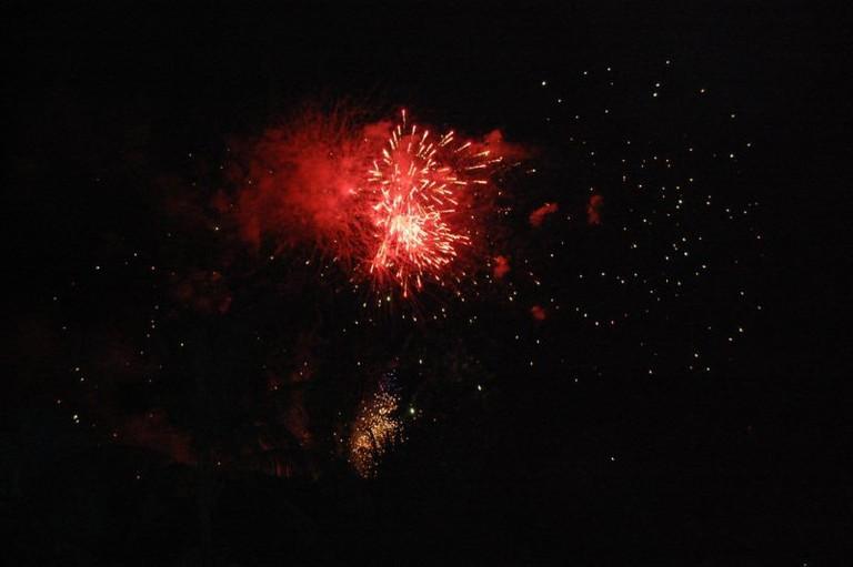 Watching fireworks in Bali