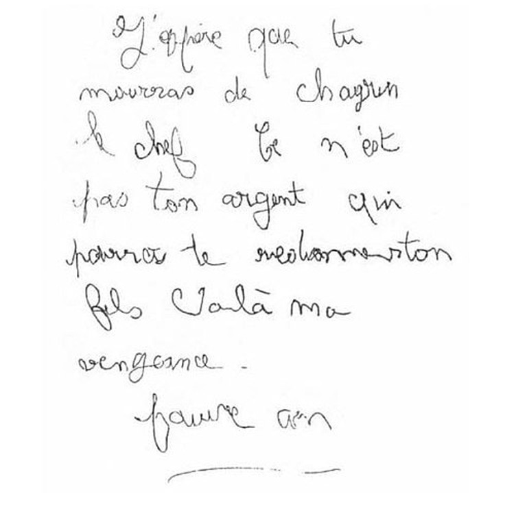 "The anonymous letter from ""The Crow"" to Grégory's parents"