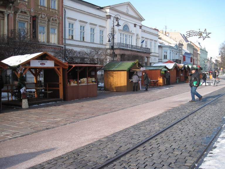 The Kosice Christmas Market sets up in the center of the historic Old Town