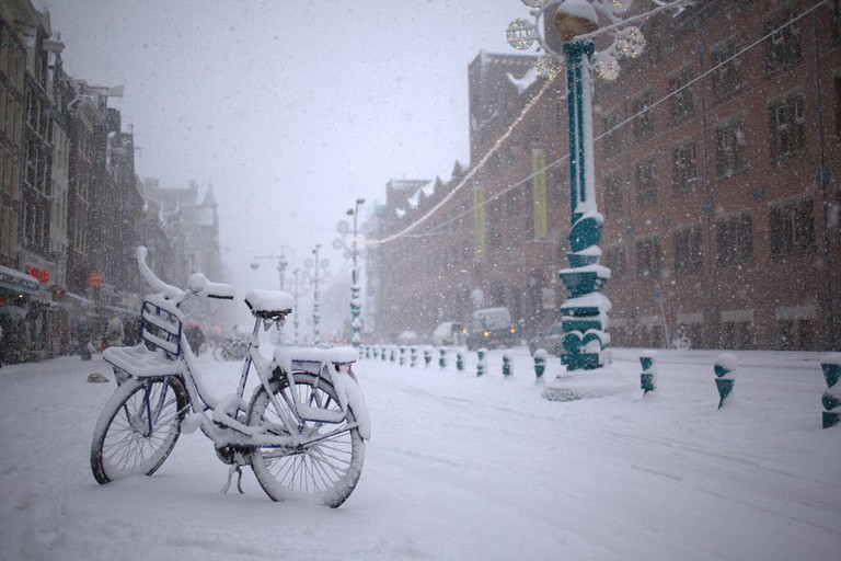 A snowstorm in Amsterdam