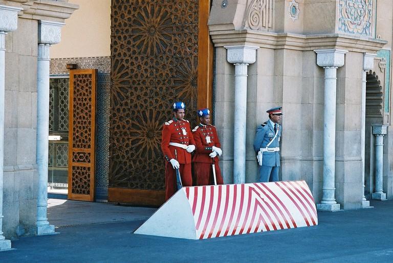Guards outside Casablanca's Royal Palace