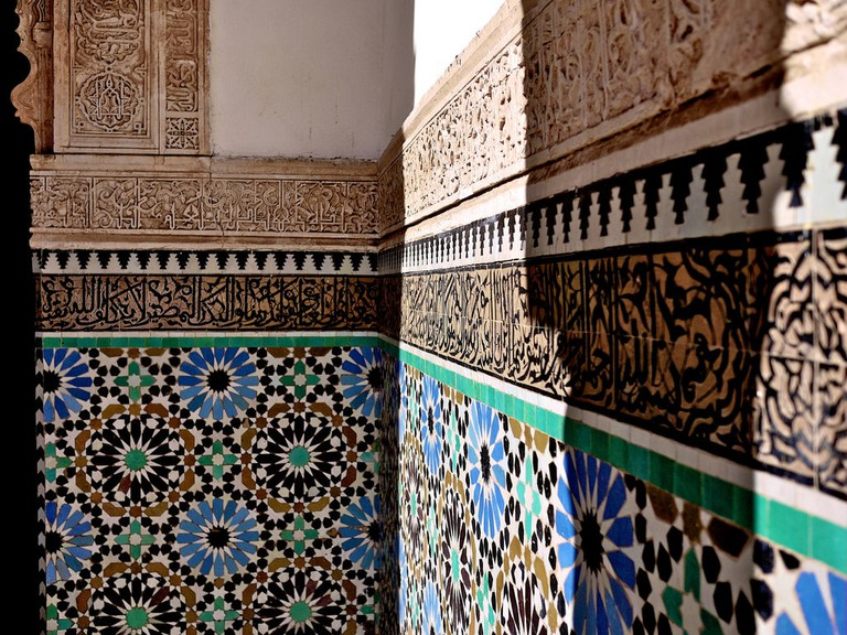 Ornate details on a building in Marrakech