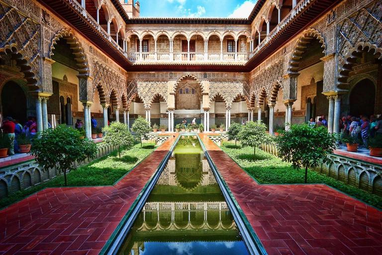 The principal courtyard of Seville's Royal Alcazar Palace