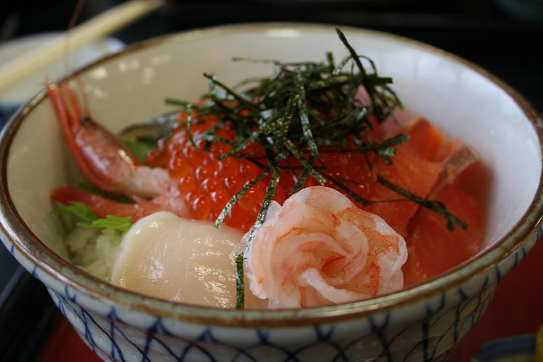 Kaisen-don topped with a variety of fresh seafood