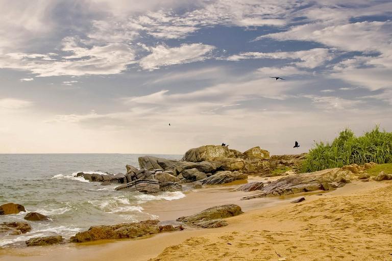Rocky outcrop on the Sri Lankan shore