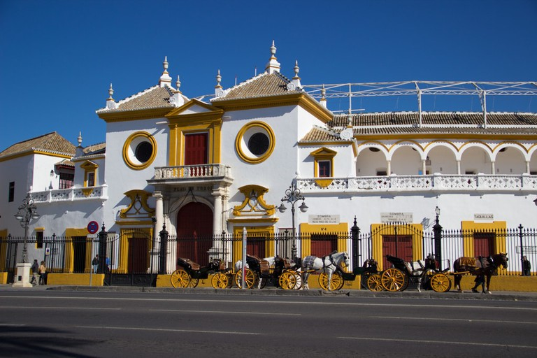 The main entrance to Seville's elegant 18th century bullring