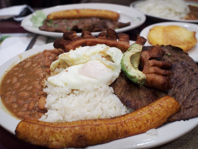 A Colombian bandeja paisa: it's not spicy, but it's good!
