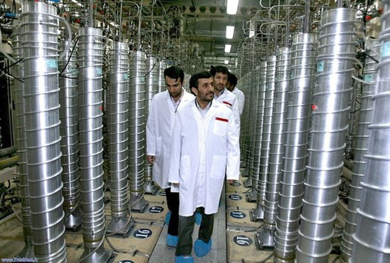 Former Iranian President Mahmoud Ahmadinejad during a tour of centrifuges at Natanz in 2008