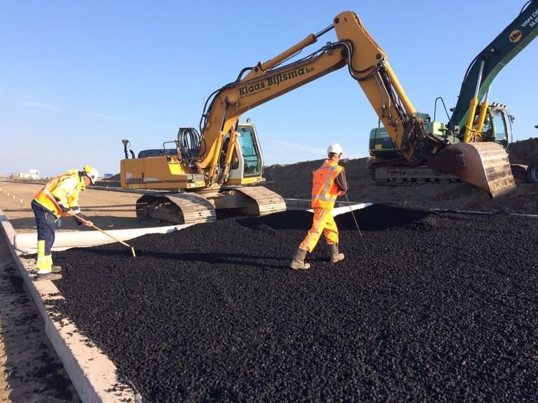 The asphalt being used on Ameland