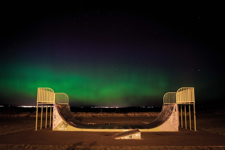 Andrew-Bulloch_ Skatepark under the Northern Lights_Musselburgh, East Lothian, Scotland_Young Winner of Lanscape Photographer of the Year 2017