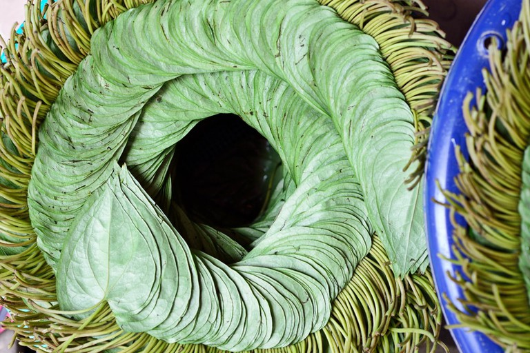 A pile of betel nut leaves neatly stacked in Yangon