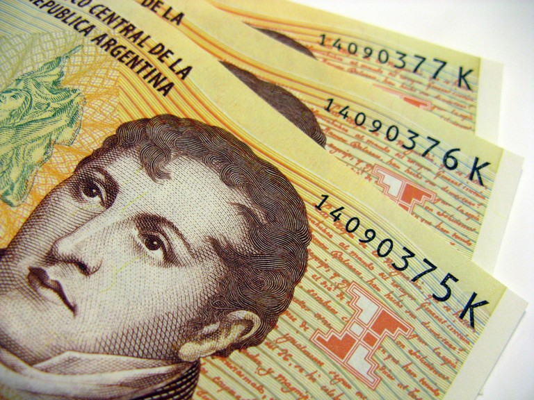 Manuel Belgrano, who created the flag, on the old 10 peso bill