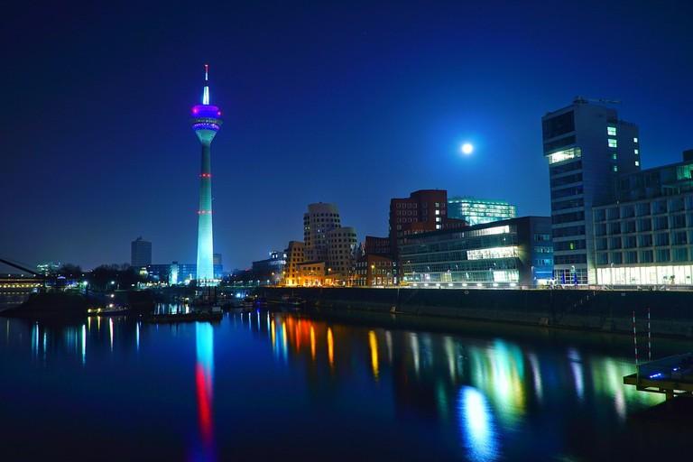 The Rhine Tower illuminated