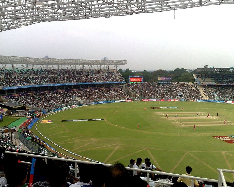 Packed crowds during a cricket match at Kolkata's Eden Gardens Cricket Stadium