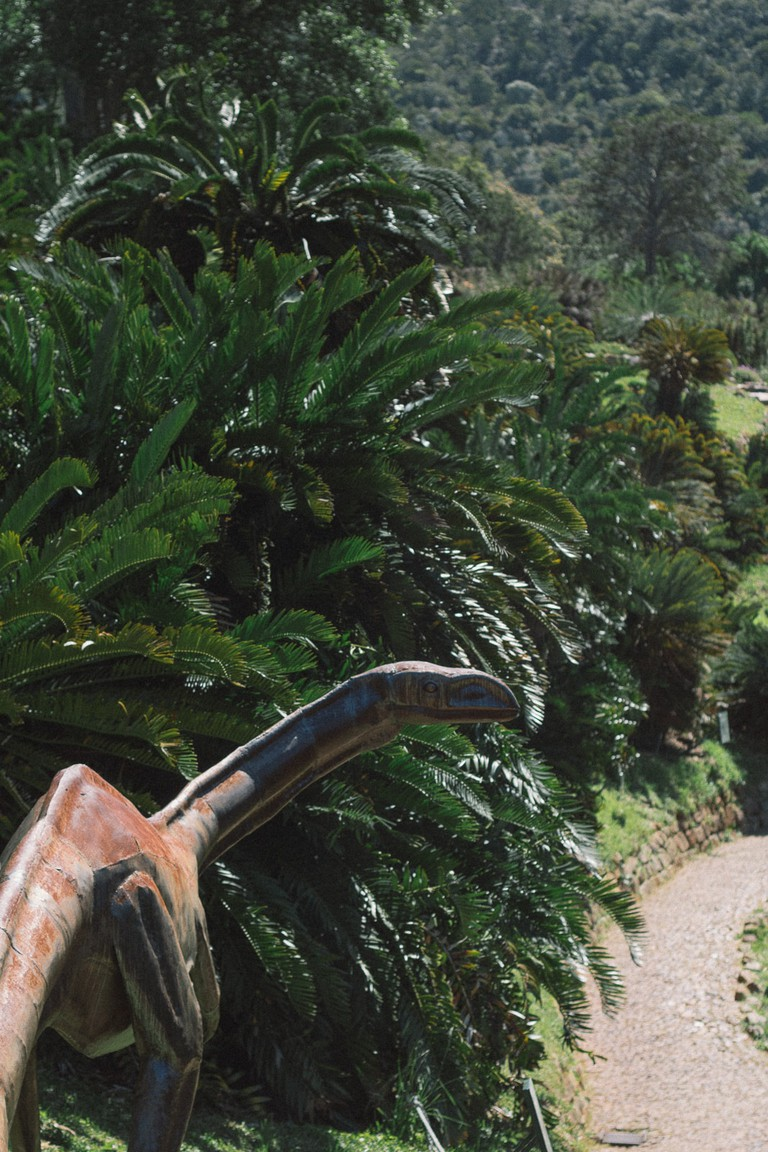 Large tin dinosaurs populate the cycad garden