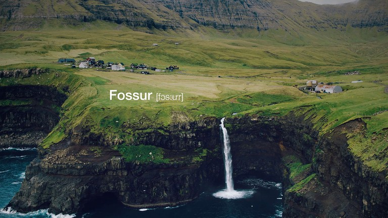 Fossur means 'waterfall' in Faroese
