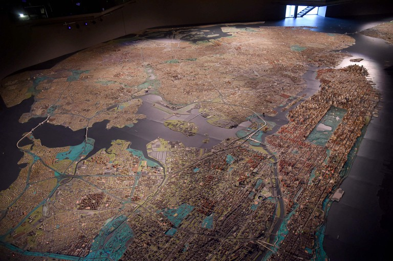 A view of the Panorama Of The City Of New York at Queens Museum