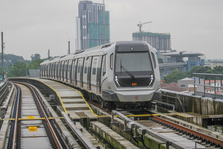 The newly launched MRT line in action