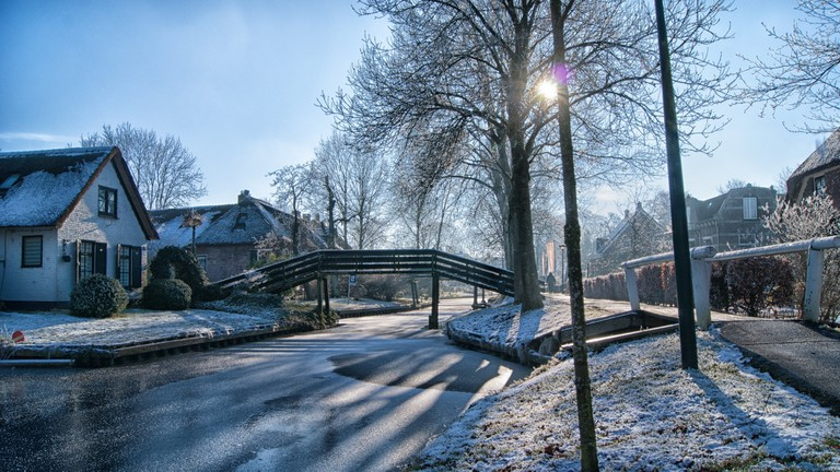 Giethoorn's famous canals frozen over