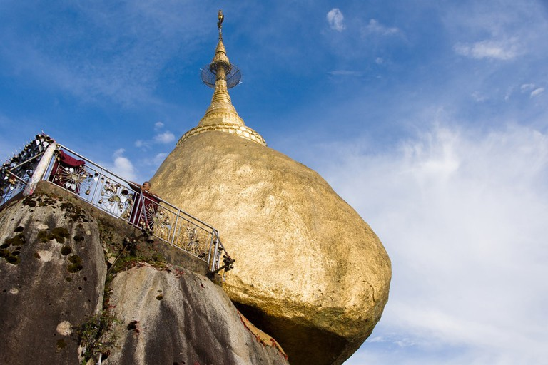 Looking up at the Golden Rock of Mount Kyaiktiyo, Myanmar