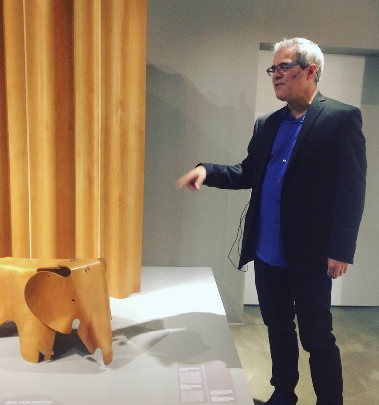 Eames Demetrios discussing the Eames Elephant at the Vitra Design Musuem