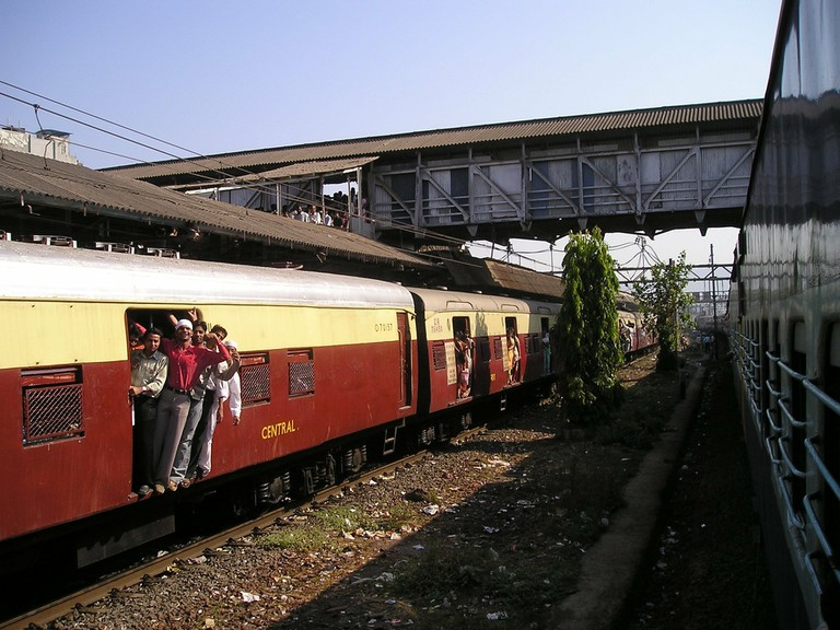 An overcrowded train ferrying people on Mumbai's Central Railway Line