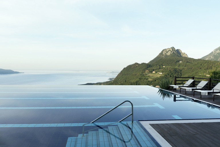 The infinity pool overlooking Lake Garda at Lefay Resort & Spa
