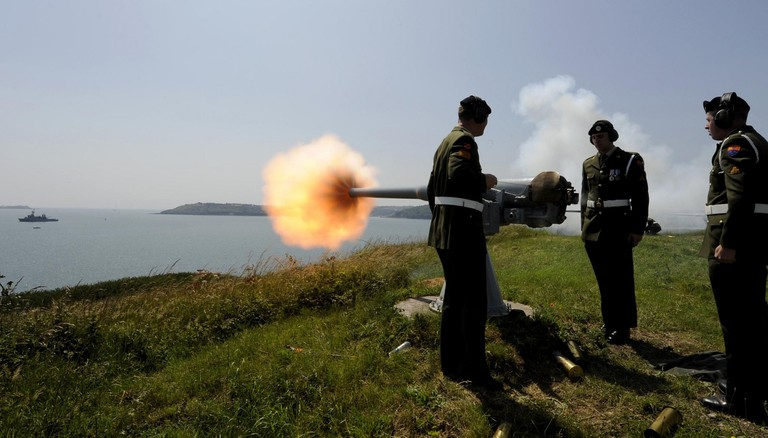 The Irish Defence Forces during a 21 Gun Salute on Spike Island