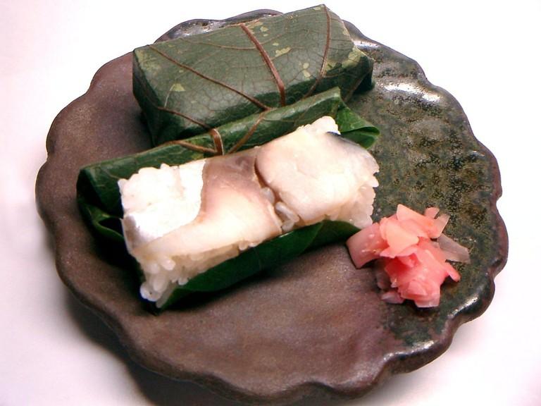 Kakinohazushi, persimmon leaf sushi