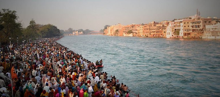 Pilgrims taking a bath at the Ganges ghat in Haridwar during the Kumbh Mela