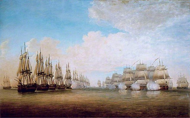 An 18th-century painting titled La Bataille De Sadras 1782, by French-born painter Dominique Serres, depicting the Battle of Sadras