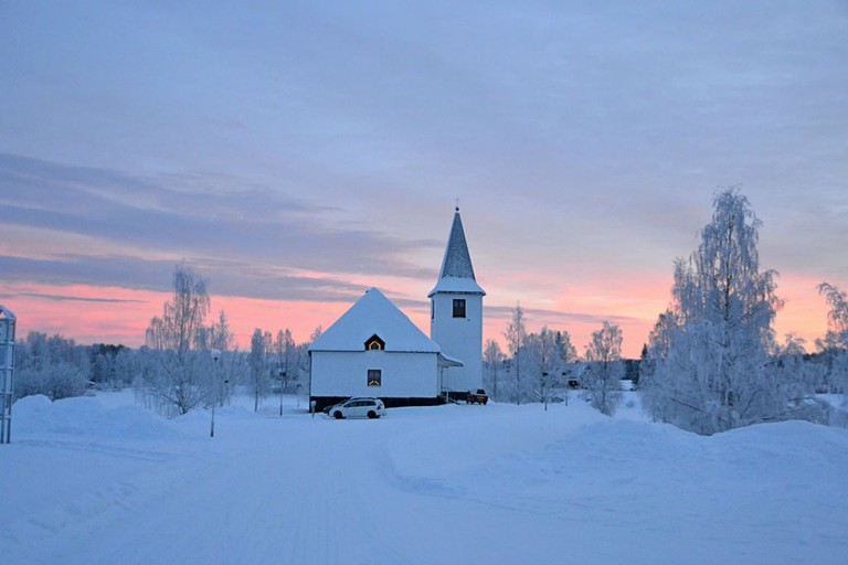 A church in Lappland at sunset