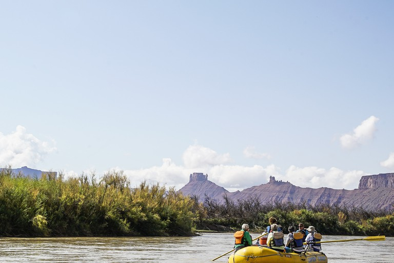 Rafting down the Colorado River in Moab, Utah