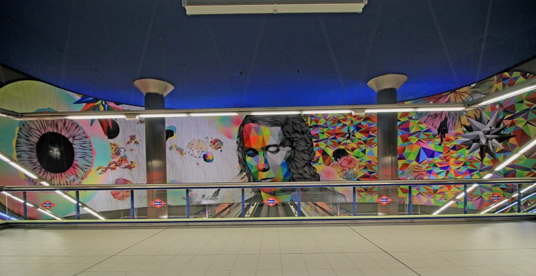 The mural of flamenco legend Paco de Lucía in the station named after him