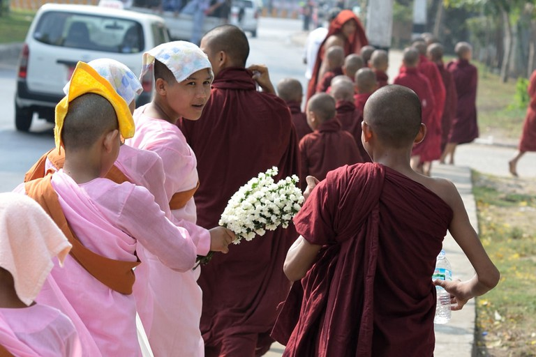 Monks-and-Nuns-Walk-Together-in-Yangon