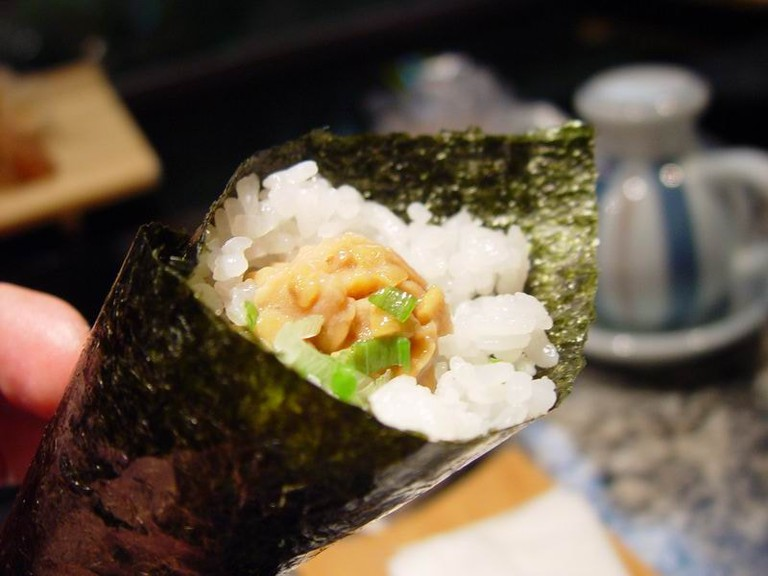 Small temaki filled with natto