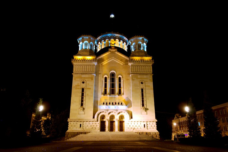 The Orthodox Cathedral by night