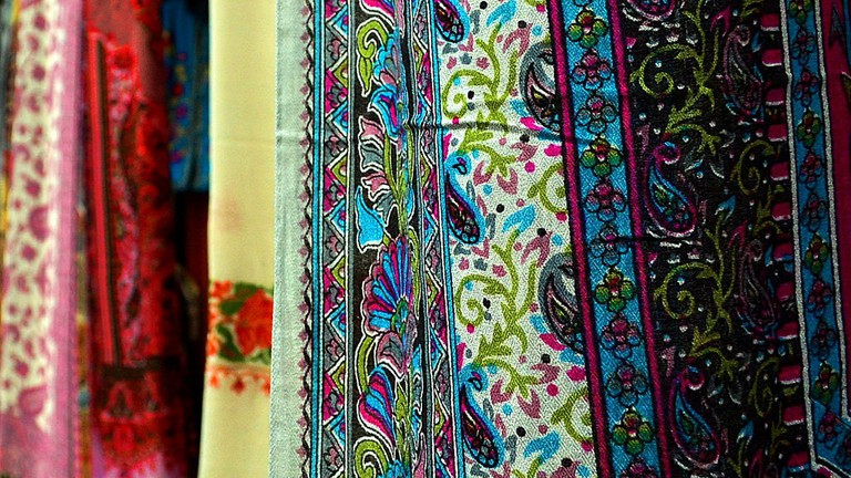 An exquisitely decorated Pashmina shawl