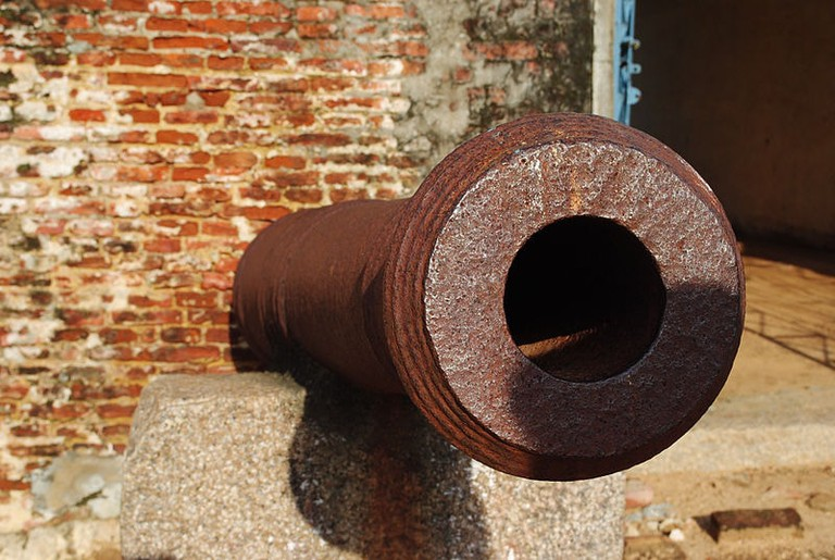 The rusty old cannon is one of the two still remaining at Sadras Fort
