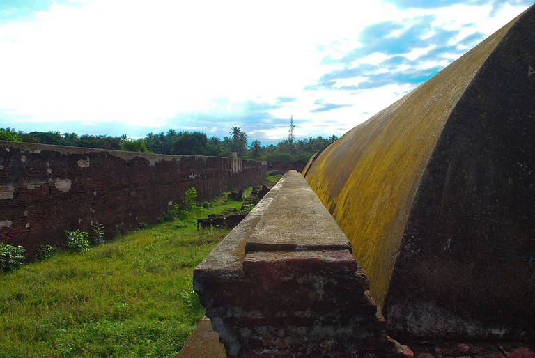 Grass has overtaken the once tall ramparts of Fort Sadras, giving it a beautiful green hue