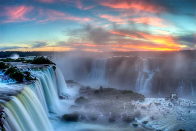 Sunset over Iguazu Falls