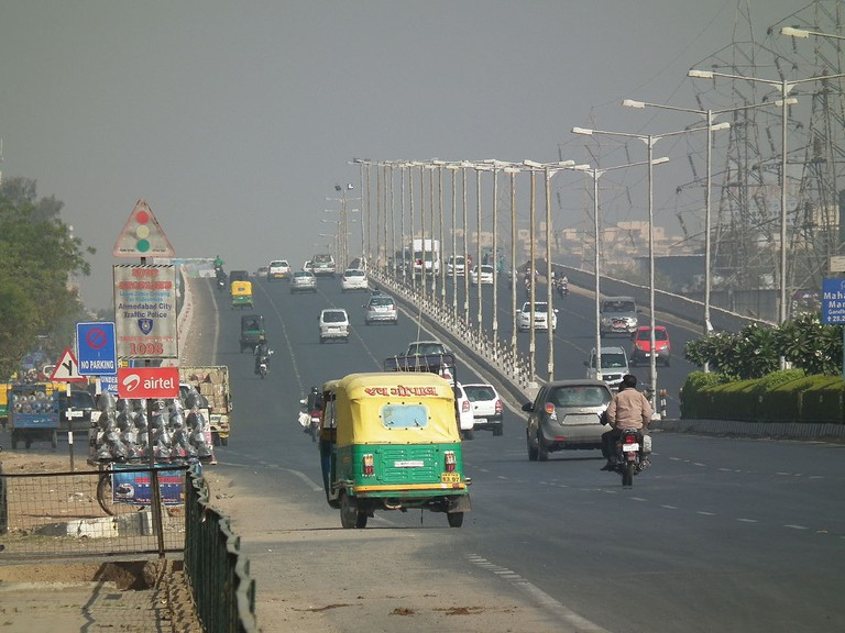 A view of the arterial SG Highway in Ahmedabad