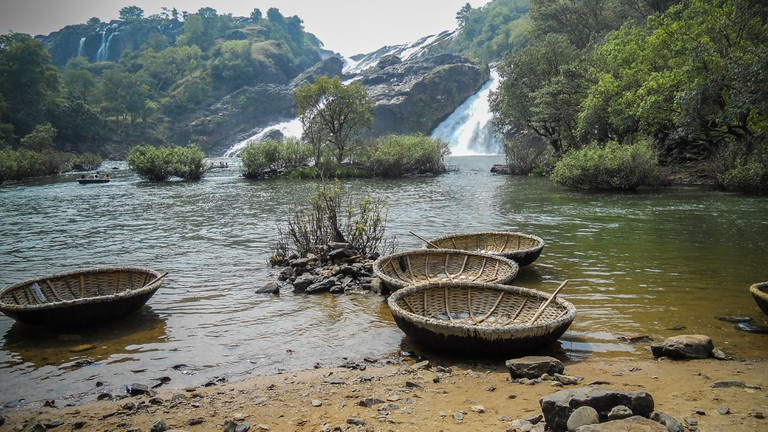 These round concave handmade boats are used for transportation in Sivasamudram, Karnataka