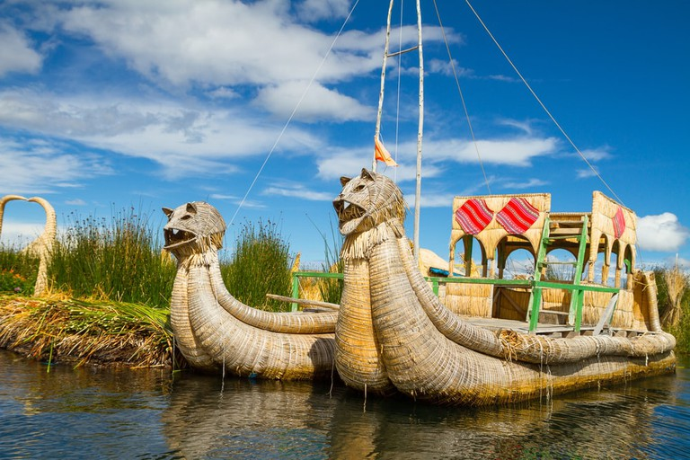 These dragon-shaped boats are made entirely from reeds