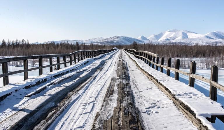 A wooden bridge in the village