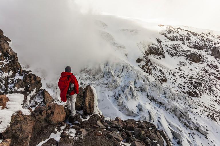 Climber on Cayambe volcano, Ecuador