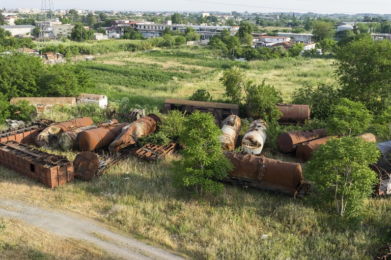 Aerial view of cemetery trains in Nea Ionia, Thessaloniki