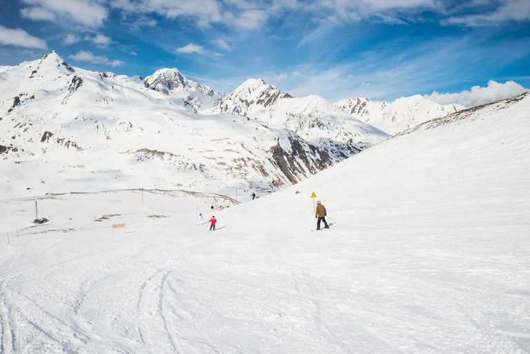 Snowy slope in the famous and scenic ski resort of La Thuile, Aosta Valley, Italy