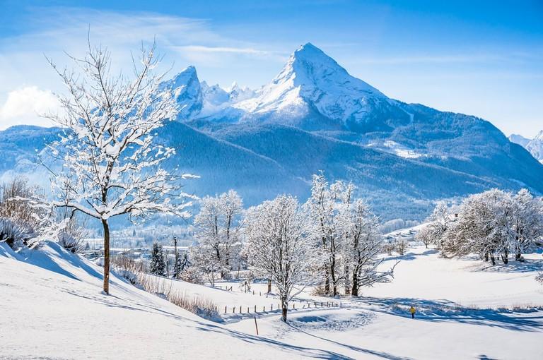 View of the Watzmann massif in the National Park Berchtesgadener Land