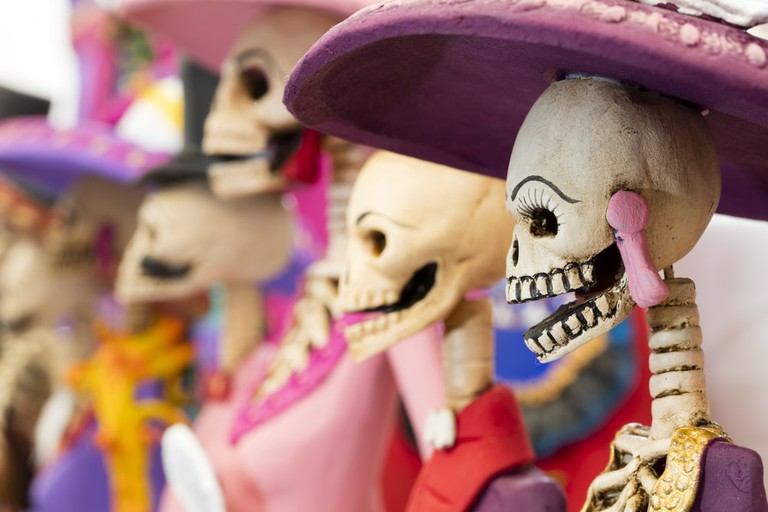 Crafted skeletons, Day of the Dead, Mexico